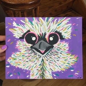 Whimsical Ostrich Painting